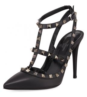 Valentino Rockstud Noir Slingback Sandals