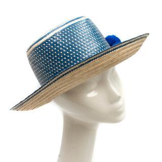 Yosuzi Blue Pom Pom Straw Hat