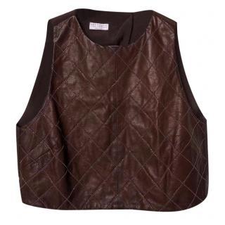 Brunello Cucinelli minili trimmed leather top
