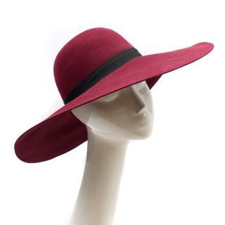 Maison Michel Burgundy Felt Wide Brimmed Hat