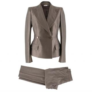 Alexander McQueen Grey Wool and Silk Suit