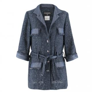 Chanel Blue Woven Tweed Belted Jacket