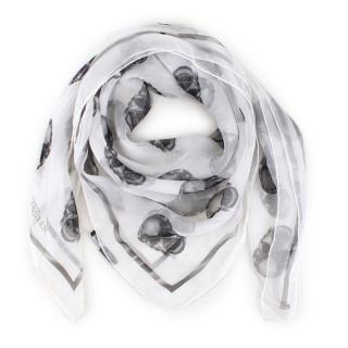 Aexander McQueen Sheer Silk Crying X-ray Skull Scarf