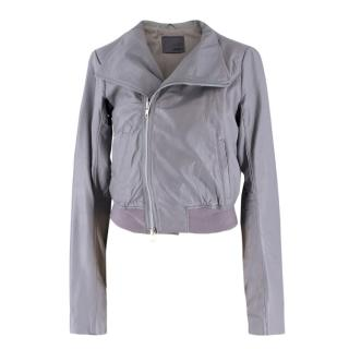 JNBY Grey Soft Leather Bomber Jacket