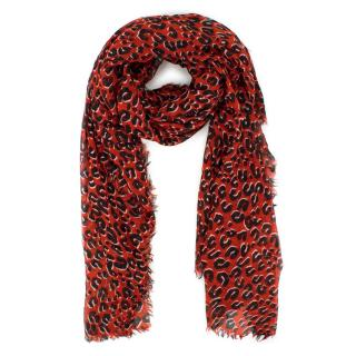 Louis Vuitton Red Leopard Print Large Silk Shawl