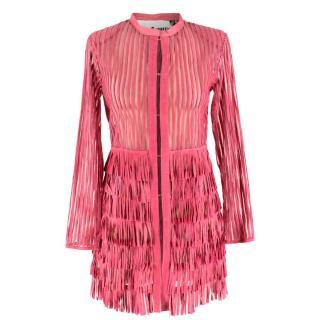 Caban Romantic Pink Sheer Fringed Dress