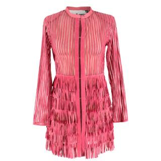 Caban Romantic Pink Sheer Fringed Dress