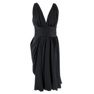 Prada V-neck Pin-tuck Pleated Little Black Dress