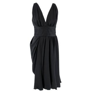 Prada V-neck Pin-tuck Pleated Little Black Dress