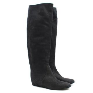 Lanvin Grey Crocodile Embossed Boots