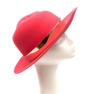 Maison Michel Bright Pink Felt Fedora Hat