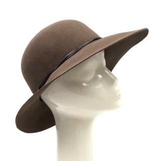 Eric Javitts Olive Felt Wide Brimmed Hat