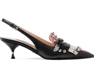 Prada Studded Brogue Slingback Kitten Heel Sandals w/Box