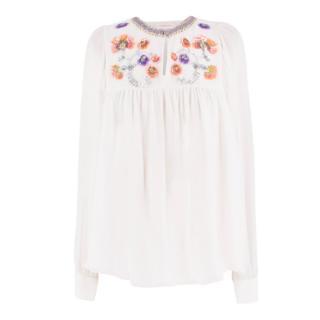 Matthew Williamson Silk Floral Sequin Embellished Blouse