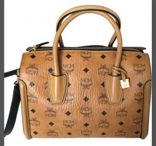MCM Cognac Visetos Essential Boston Bag