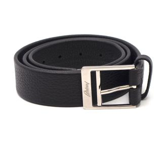 Brioni Engraved Logo Buckle Dark Brown Leather Belt