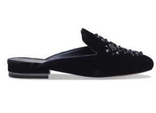Michael Michael Kors Black Velvet & Leather Embellished Mules
