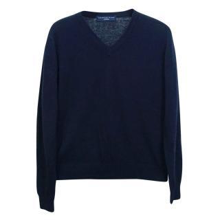 Portofino Tricot Mens Blue Wool Cashmere V Neck Jumper