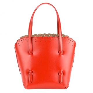 Alaia Small Scalloped Trim Tote Bag
