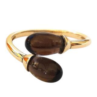 Armani 18ct Gold Smokey Quartz Cabochon Ring