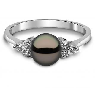 Kimura London Black Freshwater Pearl and Diamond Ring