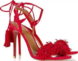 Aquazzura Wild Thing 85 suede tie-up sandals in Lipstick