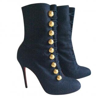 Christian Louboutin Navy Fabric Ankle Boot