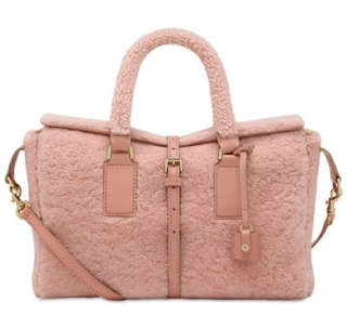 Mulberry Small Roxette Shearling Top Handle in Pink/Rose Petal
