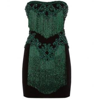 Balmain Emerald Green Velvet Embellished Mini Dress