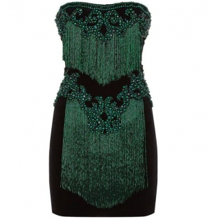 Balmain Emerald Green Velvet Embellished Mini Dress