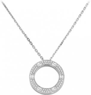 Cartier White Gold & Diamond Love Necklace - W/ Box & Certificate