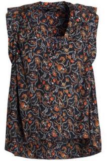 Isabel Marant Ruffle trimmed floral print silk crepe de chine top