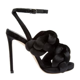 Marco De Vincenzo Plaited Velvet Sandals