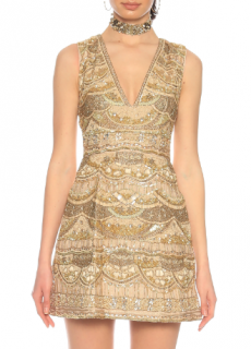Alice + Olivia by Stacey Bendet Gold Beaded Sequin Mini Dress