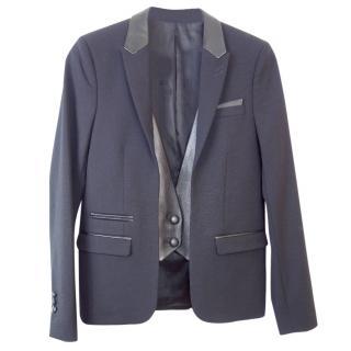 The Kooples Leather Waistcoat-insert Blazer