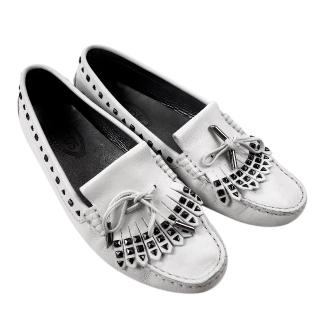 Tod's White Leather Studded Moccasin Loafers