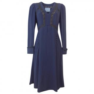 Prada Navy Lace Insert Crepe Midi Dress