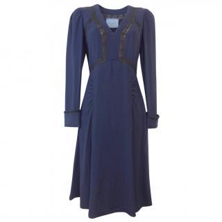 Prada Navy Lace Insert Crepe Midi Dress