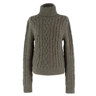 Ralph Lauren Collection Green Cashmere Cableknit Jumper