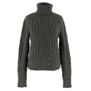Ralph Lauren Collection Grey Cashmere Cable Knit Roll-neck Jumper