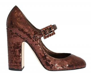 Dolce & Gabbana Bronze Leather Sequin Mary Jane Pumps