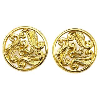 Yves Saint Laurent Round Gold Tone Earrings
