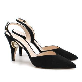 Nicholas Kirkwood Black Suede Pearl Heel Sandals