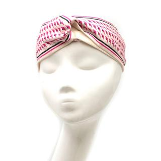 Fendi White & Pink Geometric Print Headband