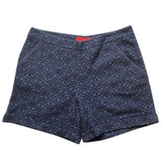 Carolina Herrera navy guipure shorts