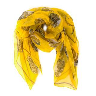 Alexander McQueen Yellow Silk Skull Print Scarf