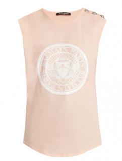 Balmain Pale Pink Sleeveless Crew Neck Coin Logo Jersey Tank