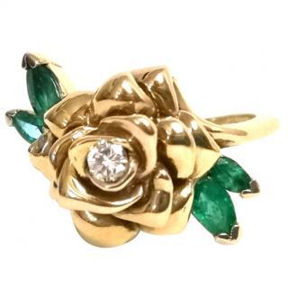Faberge Diamond & Emerald Rose Ring 14ct Gold