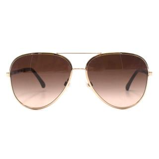 Chanel Gold Framed Aviator Sunglasses