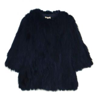 PAROSH Black Fox Fur Jacket
